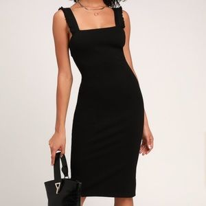 Persuasion Black Ruffled Bodycon Midi Dress